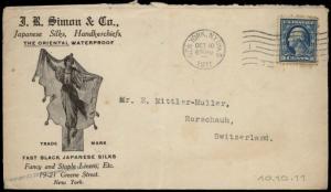 USA 1911 Switzerland JR Simon Japan Silks 5c Washington Cover 81894