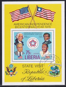 Liberia 1976 Sc C214 American Revolution Bicentennial Year Visit Stamp SS CTO NH