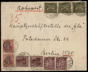 Germany 1922 Berlin Hallensee Inflation Rohrpost Pneumatic Cover 82336