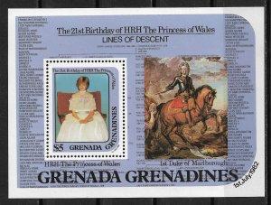 1982 Grenada Grenadines 491 Princess Diana Lines of Descent S/S MNH