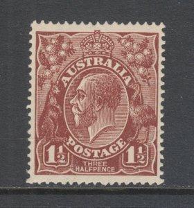 Australia SG 52 MNH. 1918 1½p red brown KGV definitive, F-VF