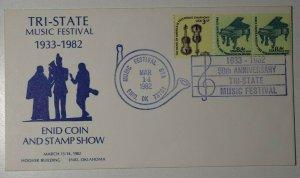 Tri State Music Festival Coin & Stamp Show Enid OK 1982 Philatelic Expo Cachet