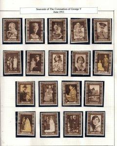 GB KGV 1937 Coronation Cinderella mint set x 43 stamps WS21589(L)