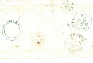 GB WALES Cover Super *BUCKLEY* Rare FLINTSHIRE UDC 1d Red 1857 Mold Numeral PB48