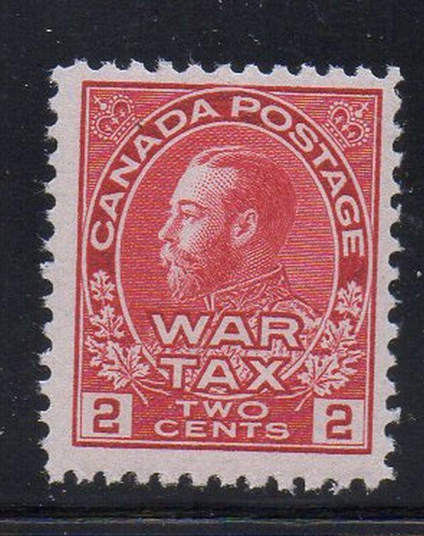 Canada Sc MR2 1915 2 c carmine G V War Tax stamp mint NH