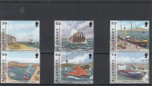 Alderney Guernsey 2012 MNH History Harbour 6v Set Boats Ships RNLI Stamps