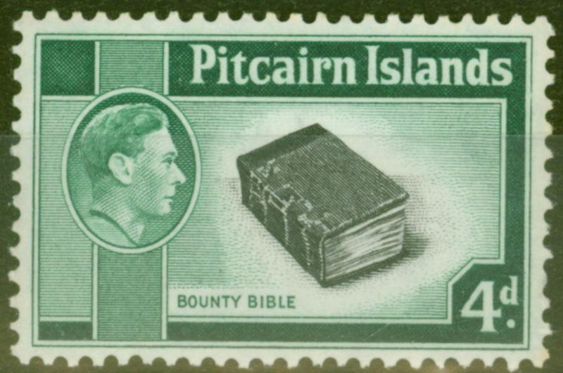 Pitcairn Islands 1951 4d Black & Emerald Green SG5b Fine MNH