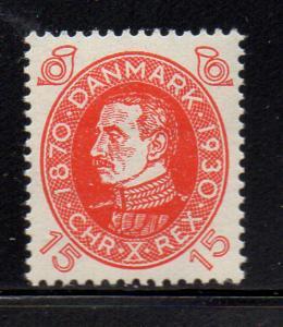 Denmark Sc 214 1930 15 ore b'day Christian X stamp mint