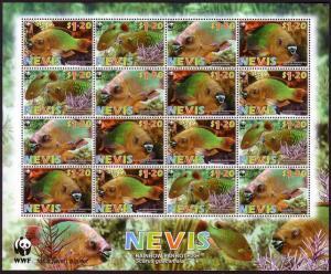 Nevis WWF Rainbow Parrotfish Sheetlet of 4 sets SG#2015-2018 SC#1510a-d