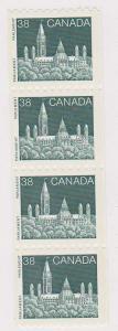 Canada -#1194A - 1989 38c Parliament Strip of four VF-NH