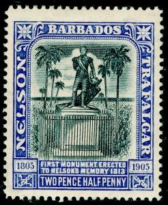 BARBADOS SG162, Nelson Centenary 2½d black & bright blue, LH MINT.
