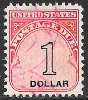 USA 1959 $1.00 Carmine Rose and Black POSTAGE DUE Sc J100 VFU
