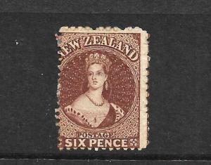 NEW ZEALAND 1864  6d  RED BROWN  FFQ  MH  NZ WMK  CP A5FX   SG 108 CHALON