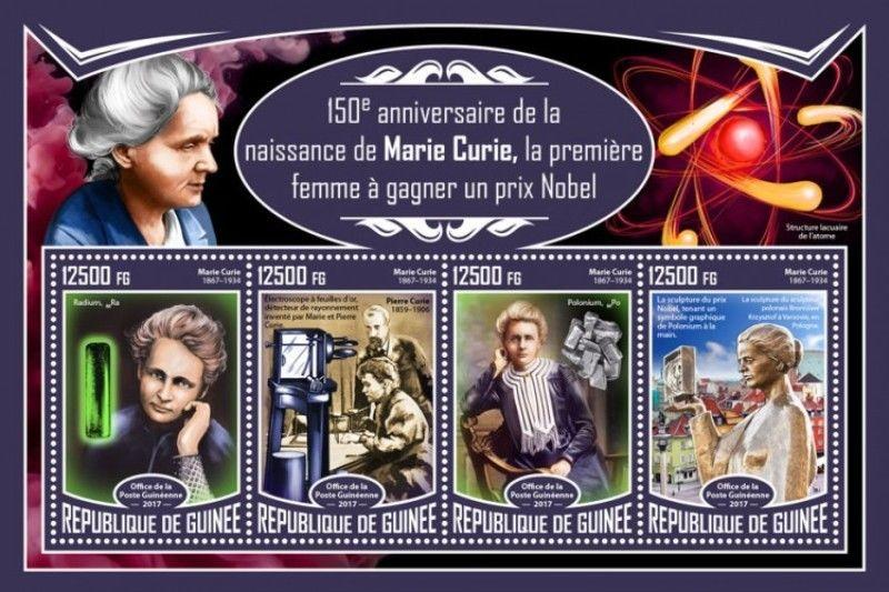 Guinea - 2017 Physicist Marie Curie - 4 Stamp Sheet - GU17324a