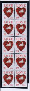 United States Sc 2814a 1994 29 c Love stamp booklet pane mint NH
