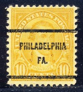 Philadelphia PA, 642-61 Bureau Precancel, 10¢ Monroe
