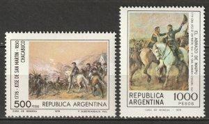 Argentina 1978 Sc 1227-8 set MLH*