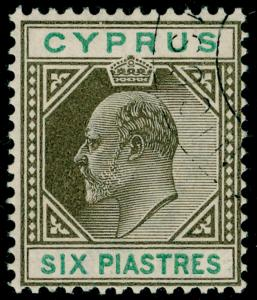 CYPRUS SG55, 6pi sepia & green, VERY FINE USED. Cat £140.