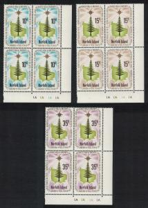 Norfolk Pine Tree Christmas 3v issue 1975 Bottom Right Corner Blocks of 4