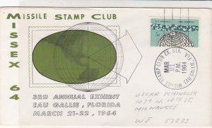 U.S. 1964 Missile Stamp Club 3rd Annual Exh. Florida Illust Stamp Cover Rf 34476