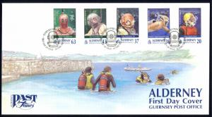 Alderney Sc# 114-118 FDC 1998 Past Times Scuba Diving