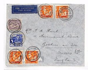DUTCH EAST INDIES Cover *Soerabaja* GB Bexhill-on-Sea Air Mail 1936 BF195
