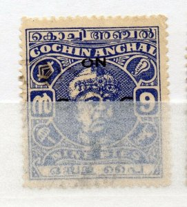India Cochin 1946-47 Early Issue used Shade of 9p. Optd NW-16142