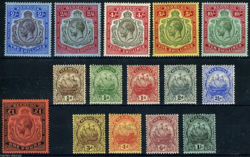 BERMUDA SG#44/51 51b/55  SCOTT#40/54  MINT H  ORIGINAL GUM