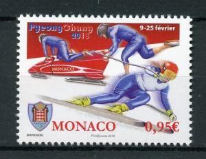 Monaco 2018 MNH Winter Olympics PyeongChang 1v Set Bobsleigh Skiing Stamps
