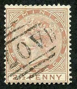 Dominica SG6 2 1/2d Red-brown Wmk Crown CC Perf 14 Fine used Cat 45 pounds
