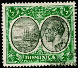 DOMINICA SG71, ½d black & green, FINE USED.