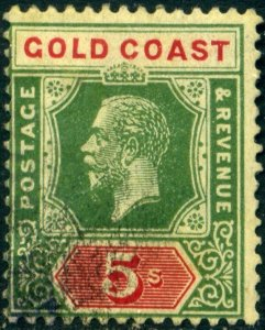 Gold Coast 1921 SG98 KGV 5/ Green & Red/Yellow Used c£70.00