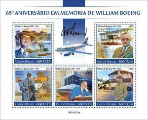 Guinea-Bissau - 2021 William Boeing Anniversary - Stamp Souvenir Sheet GB210223a