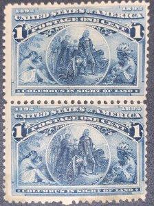 US #230 Pair.  Mint Hinge OG.  Small Thins.  1893 1c Columbian Commemorative.