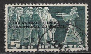 1942 Switzerland 3O81 INTERNATIONAL LABOR BUREAU Overprint 5FR used
