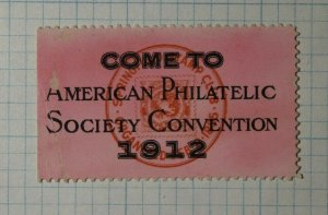 American Philatelic Society Convention 1912 Invitation Philatelic Souvenir Label