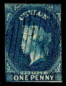 1857 Ceylon #3 Queen Victoria Watermark 6 - Used - F/VF - CV$47.50  (ESP#3541)