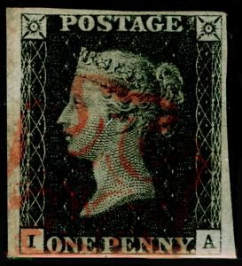 SG2, 1d black PLATE 6, FINE USED. Cat £400. RED MX. IA