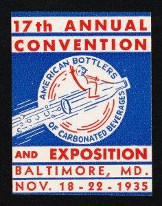 REKLAMEMARKE POSTER STAMP AM BOTTLERS OF CARBONATED BEVERAGES BALTIMORE MD 1935