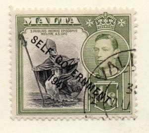 Malta 1948 Early Issue Fine Used 1S.6d. Self Government 1947 Optd 248996
