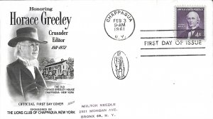 #1177 FDC, Horace Greeley, Fleetwood / Lions Club