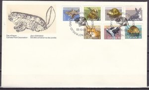 Canada, Scott cat. 1155-1161. Turtle, Fox, Rabbit, etc issue. First day cover. ^