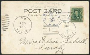 Postcard Cover - 3 Diff DPO on One View - Blair Park Pa 1907 S1568