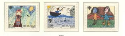 Faroe Islands Sc  45-7 1979 Year of Child stamp set mint NH