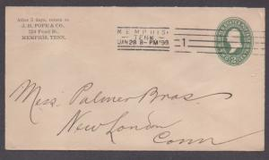 **US 19th Century P/S Cover, F-2 Machine Cancel, Memphis, TN 1/28/1899