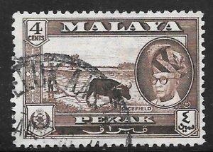 Malaya Perak 129: 4c Sultan Yussuf Izuddin Shah, Ricefield, used, F-VF