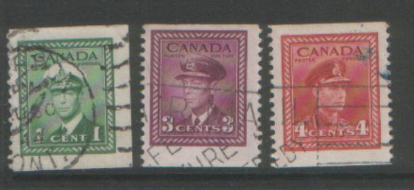 Canada 1943 booklet stamps SG394/396 used