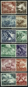 GERMANY 1943 ARMED FORCESHERO'S DAY FULL SET MINT (NH) SG 819-30 P.14 SUPERB