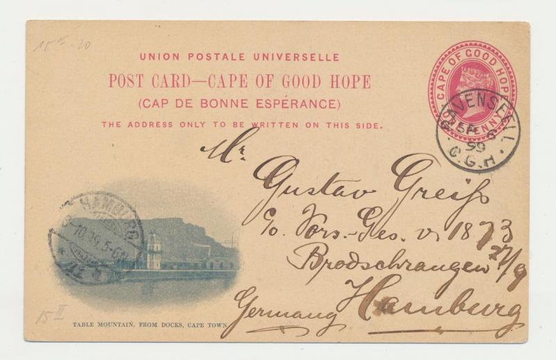 CAPE OF GOOD HOPE TO GERMAN 1899, RAVENSFELL TO HAMBUR, TABLE MOUNTAIN 1d CARD
