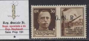 ITALY RSI (Social Rep) - War Propaganda -  Sass.18/I Variety signed Raybaudi MH*